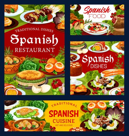 Spanish cuisine restaurant dishes, vector food. Seafood paella, Iberian ham, beef meat kebob and fish salads, churros, mousse, empanada, omelette and lamb pie, bread almond soup and deviled eggs Illustration