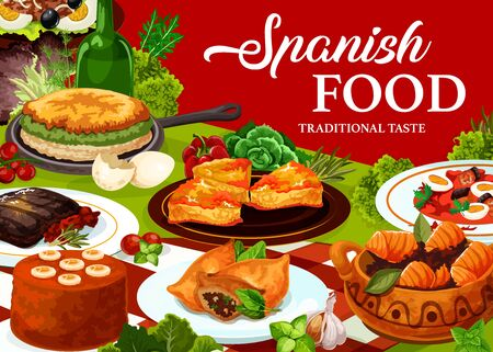 Spanish cuisine food vector design with restaurant dishes. Beef meat steak, fish vegetable salads with eggs and olives, sardine empanada, tuna stew pisto and omelette, lamb pie and banana mousse