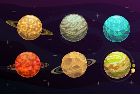 Fantasy space planets cartoon set of vector game galaxy. Alien universe planets with orbits, asteroids and craters, rings, stars, meteors and colorful landscapes of fantastic surface, fantasy space