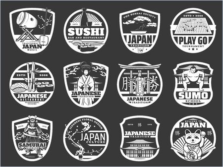 Japan religion, history and culture, Japanese sushi cuisine, travel landmarks vector icons. Japanese music instruments, temple architecture, sushi restaurant, samurai armor museum and sumo school Illustration