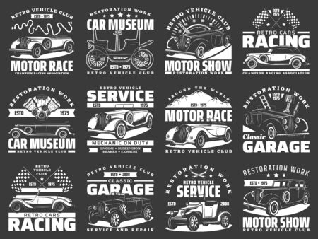 Car service and racing icons, retro motors rally and mechanic repair, vector emblems. Rarity vehicle motor show, auto club races tour and classic transport museum, sign, automotive repair garage