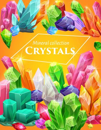 Crystal gem stones and rocks of quartz and diamonds, gemstones vector poster. Crystal gemstones and jewels ruby, sapphire and emerald, quartz glass and diamond, jewelry crystal rocks sparkling shine