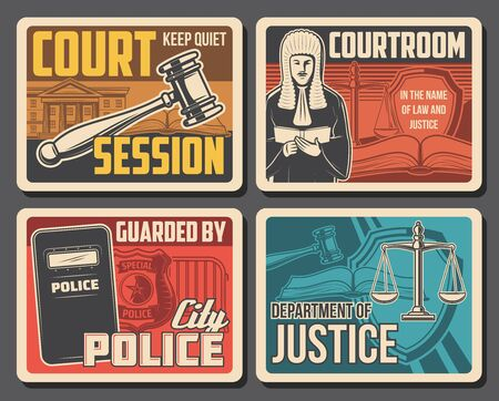 Judge court, law and legislation justice, lawyer and courtroom vector retro posters. Civil guard and police officer badge, state court, justice scale and judge gavel, jurisprudence and civil rights Vektoros illusztráció