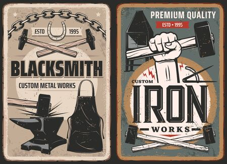 Blacksmith work, steel metal forge retro posters, vector retro posters. Blacksmith anvil and hammer in hand, metal forging industry, metalsmith furnace and foundry tools, horseshoes and iron chain Illustration
