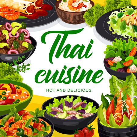 Thai cuisine vector spring rolls, thai salad with beef and seasame, coconut milk fish soup, calamari salad, salad with grapefruit, tom yam. Spicy chicken pieces with cashews Asian food dishes