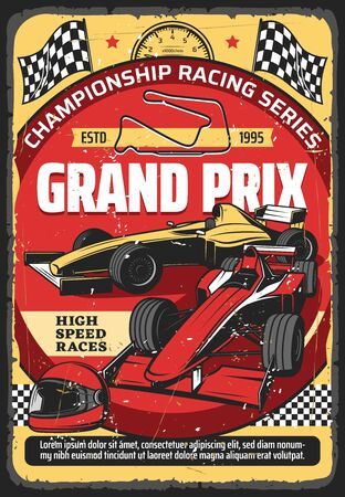 Car races retro poster, vintage auto rally sport championship and Grand Prix tournament, vector. Retro sport car speedway racing tournament, racecar speedometer, racetrack, start and finish flags ベクターイラストレーション