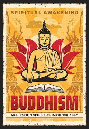 Buddhism poster, Buddha in meditation and dharma, enlighten, spiritual awakening, vector. Buddhist monk in lotus posture and mudra hand, Hinduism and Buddhism spiritual intrinsically and enlightenment