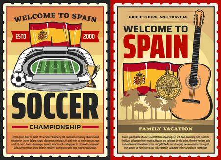 Spain travel posters, Spanish culture, Barcelona and Madrid vector landmarks. Welcome to Spain, vacations and tourism sightseeing tours, soccer or football championship and flamenco guitar music