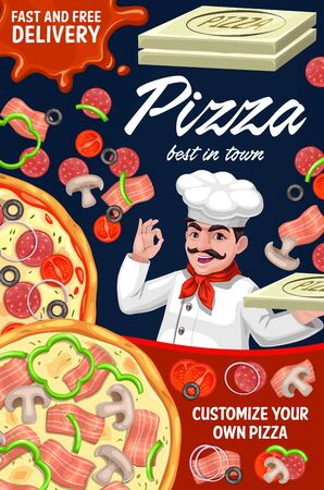 Pizza order delivery, pizzaiolo of Italian pizzeria restaurant, vector fast food menu. Pizzeria pizzaiolo with pizza box, customize your pizza ingredients for Margherita, capricciosa or napoletana
