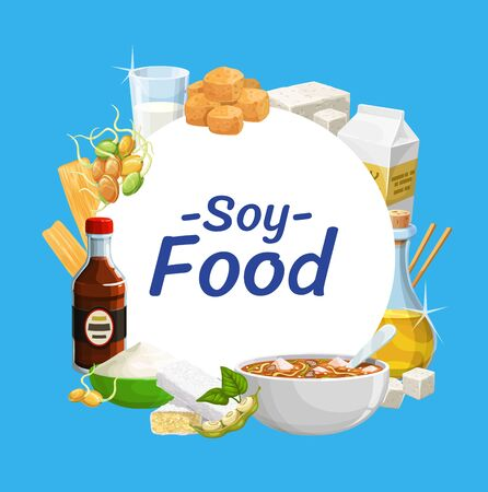 Soy products and soya bean food tofu, sauce, milk and tempeh soy skin. Organic vegan soy milk, cheese and and miso soup, soybean flour and butter and meat chunks Çizim
