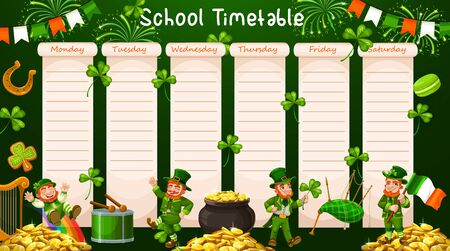 School timetable schedule, week table and student, calendar planner, vector lessons plan. School schedule, education week time table with St Patrick leprechaun, shamrock clover and Irish flags