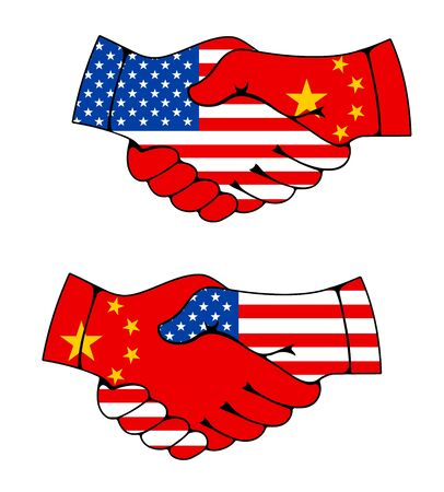China and USA partnership, business and trade hand shake flags vector icons. US America and China international treaty agreement on economics, politics and collaboration friendship, hand shake sign