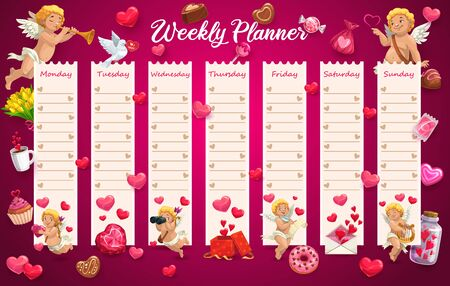 School timetable, week schedule table, student calendar planner, vector Valentine day love hearts and angles. Student education schedule organizer, school timetable schedule with flowers and hearts