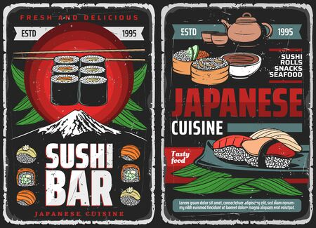 Sushi bar rolls, Japanese food Asian restaurant vector menu of fish and seafood. Japanese sushi bar traditional sushi and bento lunch of Philadelphia salmon and tuna rolls, rice and miso soup