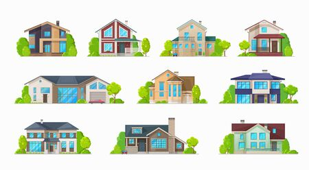 Home houses, villa bungalows and condominiums, real estate buildings vector icons. Private houses and residential architecture, mansion and family house, cottages and duplex apartments Ilustração
