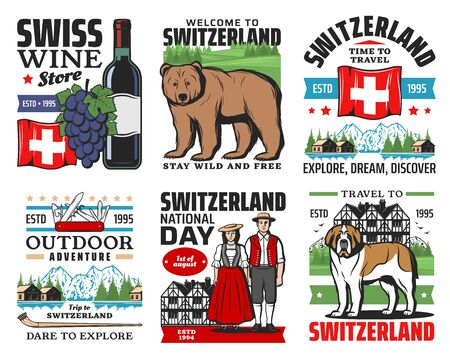 Swiss travel icons, Switzerland Alps mountains, Geneva and Zurich city culture landmarks, vector. Welcome to Switzerland, nature adventure trips, wine store and national costumes, Swiss knife and flag