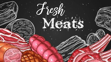 Meat chalkboard sketch butchery shop food products and sausages. Butcher store meat delicatessen pork ham and bacon, beef steak grill and smoked fillet, mutton ribs and luncheon deli on chalk board
