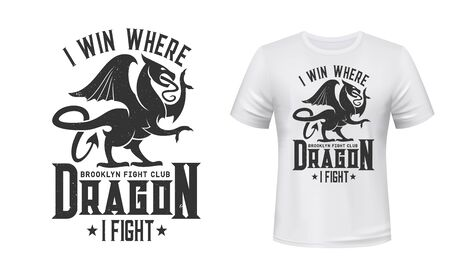 Dragon t-shirt print mockup, fight club emblem. Brooklin fight club symbol of griffin or Gothic gryphon with wings and claws for t shirt print Vettoriali