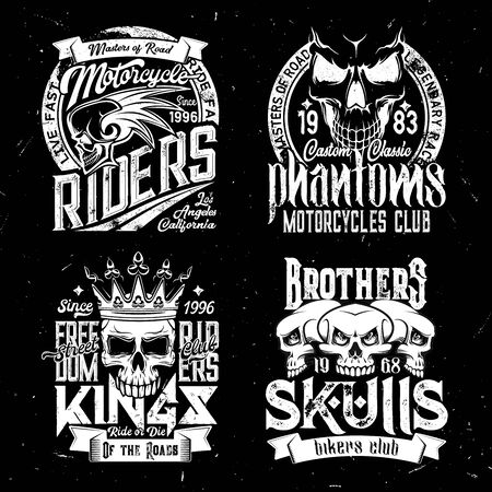 Skull t-shirt print mockup, racing sport club, motorcycle biker club signs. Custom chopper motorcycle rider quotes, Phantom Brothers and Street Freedom biker club badges with skull in crown