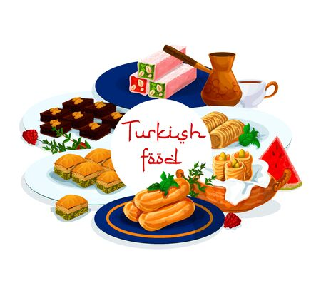 Turkish cuisine food menu, pastry desserts and sweets, traditional Turkey patisserie cafe or cafeteria, vector. Turkish coffee and chocolate cakes, cigara borek and drum choux sweet dessert