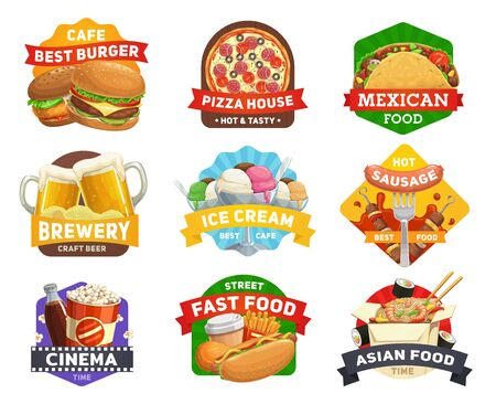 Fast food icons, burgers menu, restaurant hamburgers, drinks, snacks and sandwiches, cinema, bar vector signs. Pizzeria pizza, popcorn, Mexican taco and Asian noodles, Japanese sushi and hot dog grill