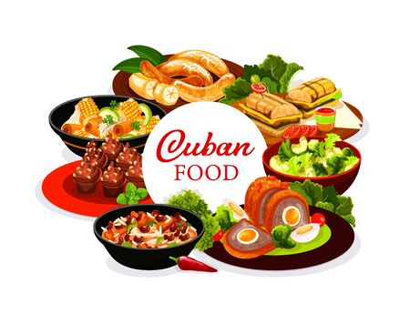 Cuban cuisine menu round vector cover. Cuban restaurant dishes with meat and vegetables. Fried bananas, avocado salad, sandwich, dessert with coffee cupcakes, meatloaf with egg, ragout, chicken stew