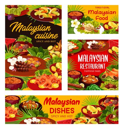 Malaysian cuisine dishes, snacks, desserts. Vector fried shrimps and stuffed crab, beef rib soup, bean sprouts with anchovies, Devils curry and fish meals, vegetable garnish and fruit dessert
