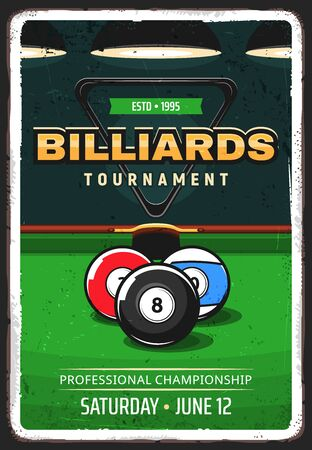 Billiard pool tournament retro vector poster. Balls for English and American billiard in front of pocket on table with green cloth. Pool championship, cue sports competition vector flyer or banner