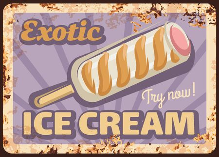Ice cream stick, metal rusty vector plate. Milk ice cream bar on stick with white chocolate, caramel swirls and fruit stuffing vintage illustration. Exotic sweets and frozen dessert retro banner Vectores