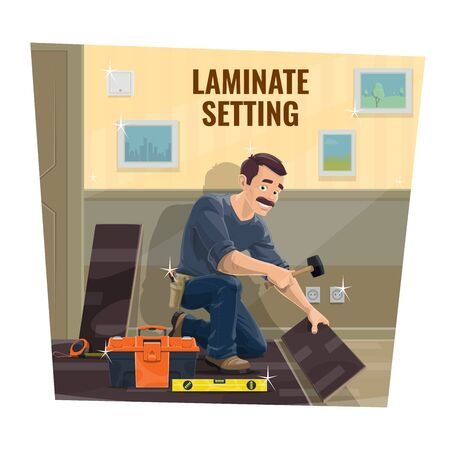 Laminate flooring installer worker, house renovation. Home repair service, flooring service worker or contractor laying down laminate tiles with mallet tool. Construction and renovation industry