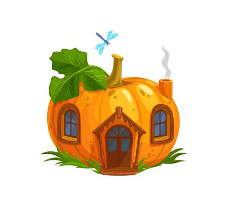 Ripe pumpkin gnome or elf house. Isolated cartoon orange pumpkin with wooden door, windows and steaming pipe. Fantasy building with green leaf on roof and flying dragonfly. Fairy gnome, elf cute house