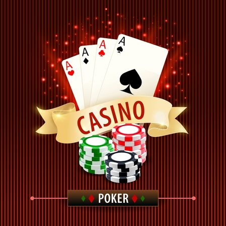 Online poker, card gambling games. Poker hand with four aces, various chips in stacks, golden ribbon and sparkles on stripped, red background. Casino card game 3d realistic vector banner, poster Vektorgrafik