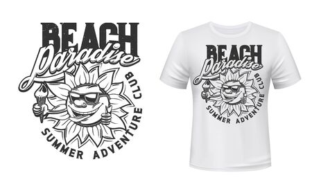 Summer funny sun with ice cream t-shirt print vector mockup. Smiling sun character in sunglasses showing thumbs up and holding ice-cream cone in hand. Beach club emblem, resort apparel print template