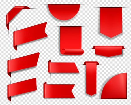 Red labels, tags and banners realistic vector set. Blank price tag sticking out from transparent background, red banners hanging on corner, bookmarks and label templates. Web page design element