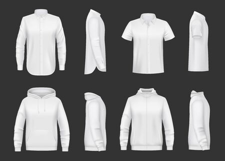 White sweatshirt, hoodie and shirt realistic vector mockup of men clothes. Front and side views of shirts with hood, long and short sleeves, zipper and pocket, 3d template of sweaters, sport jackets