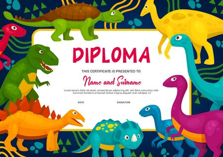 Kids diploma with cartoon dinosaurs, vector template. School or kindergarten graduation, education achievement certificate with cute dinosaurs characters. Tyrannosaurus, brontosaurus and triceratops
