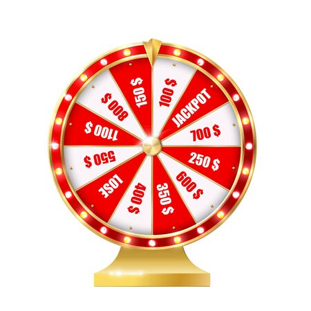 Golden wheel of fortune 3d realistic vector. Big Six Wheel with different money prizes, jackpot and lose red, white segments, gold pointer and lamps on skirting. Casino gambling spinning machine