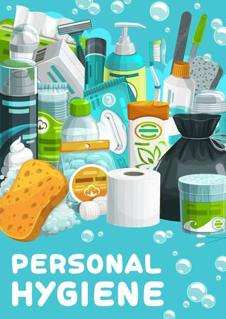 Personal hygiene, body and skin care products. Cartoon vector cotton swabs, balls and discs, wet wipes, shampoo and micellar water, shaving foam and razor, toothpaste, deodorant and napkin Vektorové ilustrace