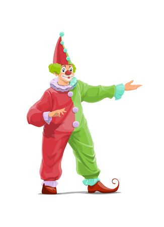 Big Top Circus Clown cartoon vector character. Smiling clown with false nose and makeup, wearing red and green color costume, cap with pompons and curled toes shoes, welcoming guest with hand gesture