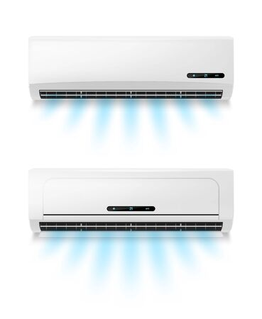 Conditioners, realistic air conditioning eqipment vector mockup. Working and blowing out cold, fresh flows through vents, cooling room air conditioner unit. AC installing, maintenance service Vektorové ilustrace