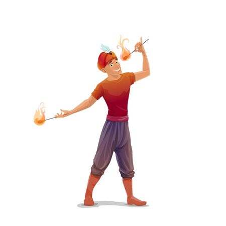 Big Top Circus fire eater or fakir vector character. Smiling man in turban with feather, performing with flaming torches, eating fire. Circus sideshow or street performer showing dangerous tricks