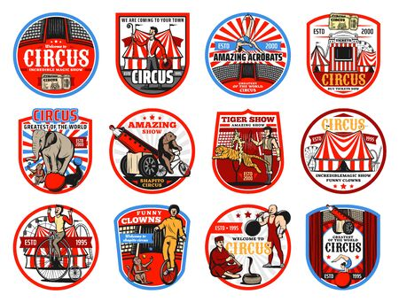 Circus shapito retro icons, vector entertainment carnival top tents, trained animals and performers. Clown, elephant and ticket box, acrobats, muscle man and monkey, bear on bicycle and circus arena
