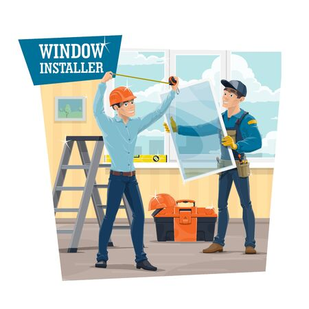 UPVC windows installer service, vector banner. Workers in uniform measuring a frame with tape and installing a window in house or apartment. Serviceman with tools, folding ladder and toolbox Illustration