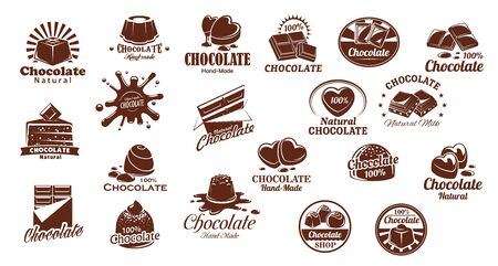 Chocolate candies and sweets vector icons set. Chocolate bar and candy symbols, cocoa cake or cheesecake. Natural, handmade sweets and desserts, pastry shop or confectionery brown icons Illustration