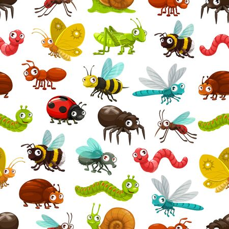 Cartoon insects and bugs vector seamless pattern. Background with cute ant, worm, caterpillar, bee and butterfly, spider, snail, fly and dragonfly, beetle, grasshopper, ladybug, wasp and bumblebee
