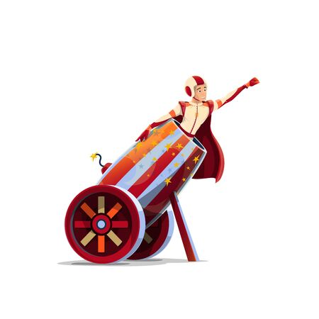 Big Top Circus human cannonball performer cartoon vector. Man in helmet and cape, circus performer sitting in middle ages canon or bombard mortar with fired fuse and aiming, pointing with fist in sky Ilustração