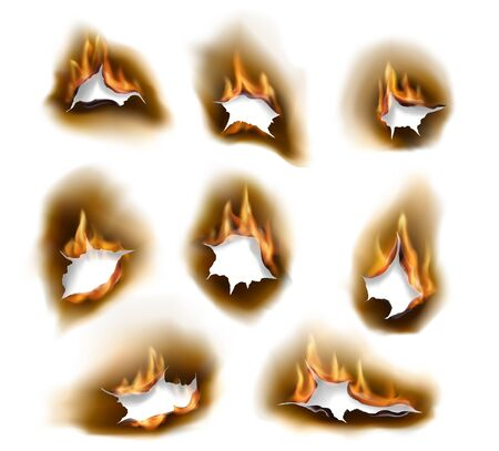 Burnt paper holes, realistic burn fire with charred edges isolated vector objects. 3d flame on white sheet. Burned paper pages with abstract holes in fire flames, torn borders and ripped frames set 일러스트