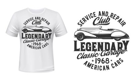 Retro car t-shirt print vector mockup template. Repair service emblem. Vintage coupe or double cabriolet and lettering. Old cars repair and restoration service, owners club apparel print design