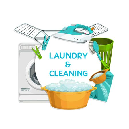 Washing and ironing clothing, laundry and cleaning items vector banner. Washing machine, iron, cleaning brush and drying rack, plastic wash basin with soapy water, detergent, laundry basket