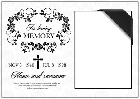 Funeral card vector template, vintage condolence flower ornament with cross, place for photo with black ribbon in corner, name, birth and death dates. Obituary memorial, gravestone funeral card Vettoriali
